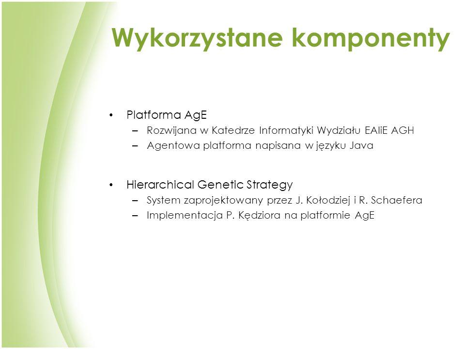 Wykorzystane komponenty Platforma AgE – Rozwijana w Katedrze Informatyki Wydziału EAIiE AGH – Agentowa platforma napisana w języku Java Hierarchical Genetic Strategy – System zaprojektowany przez J.