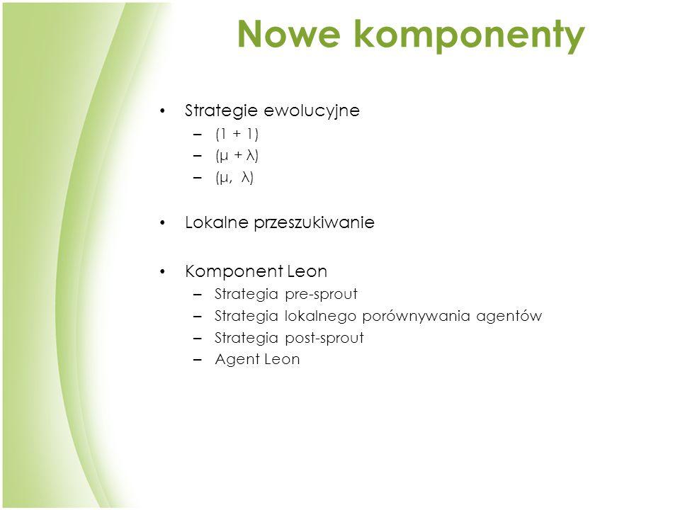 Nowe komponenty Strategie ewolucyjne – (1 + 1) – (μ + λ) – (μ, λ) Lokalne przeszukiwanie Komponent Leon – Strategia pre-sprout – Strategia lokalnego porównywania agentów – Strategia post-sprout – Agent Leon