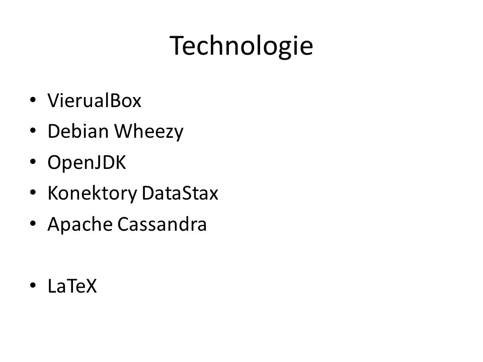 Wyniki Skonfigurowany klaster Cassandry Deployment guide Zestaw przykładów opartych o CQL Zestaw przykładów opartych o drivery DataStax