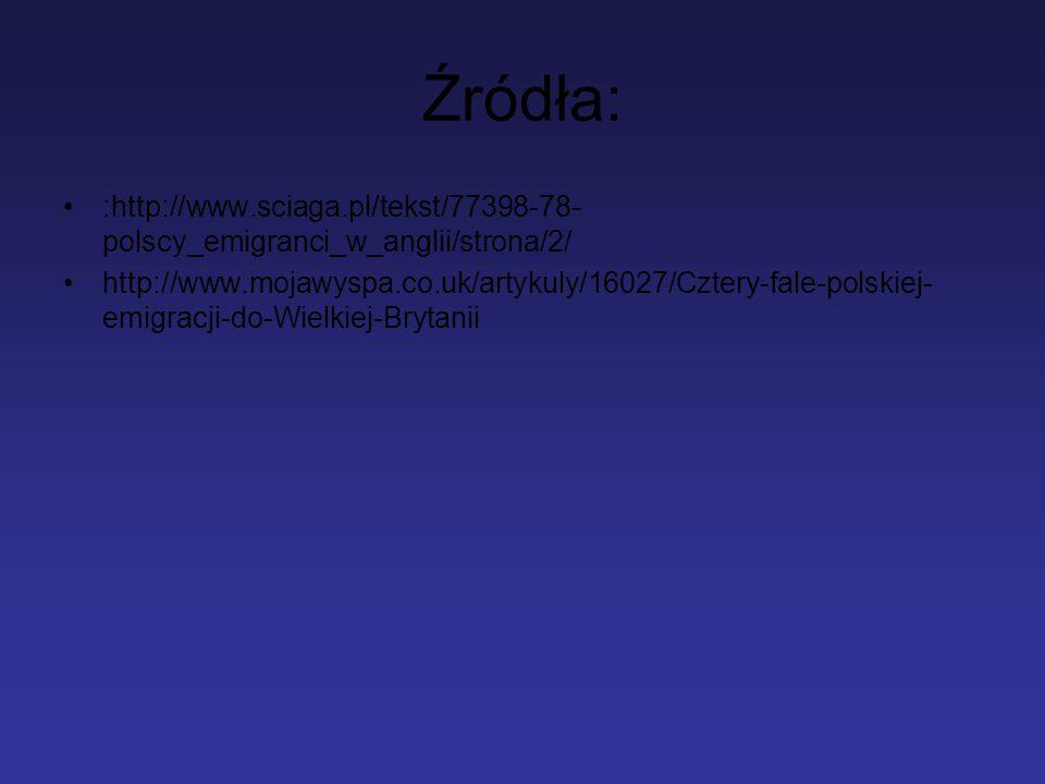 Źródła: :http://www.sciaga.pl/tekst/77398-78- polscy_emigranci_w_anglii/strona/2/ http://www.mojawyspa.co.uk/artykuly/16027/Cztery-fale-polskiej- emig