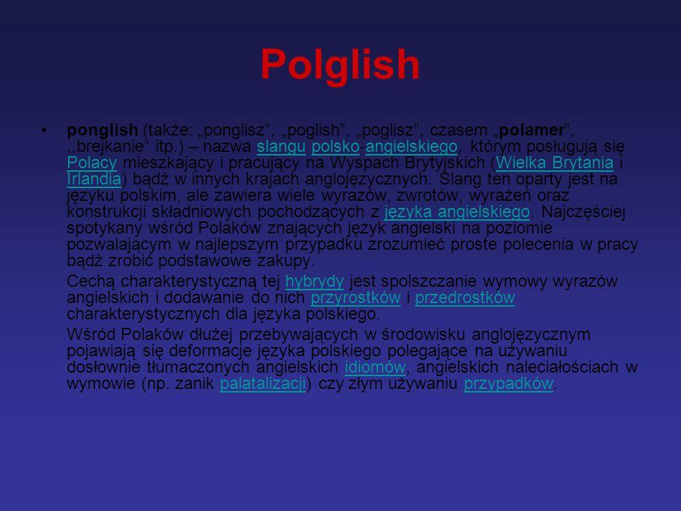 """Polglish ponglish (także: """"ponglisz"""", """"poglish"""", """"poglisz"""", czasem """"polamer"""",,,brejkanie"""" itp.) – nazwa slangu polsko-angielskiego, którym posługują s"""