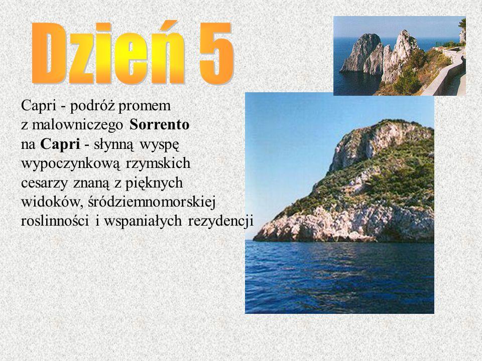 Capri - podróż promem z malowniczego Sorrento na Capri - słynną wyspę wypoczynkową rzymskich cesarzy znaną z pięknych widoków, śródziemnomorskiej rosl