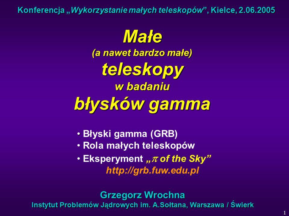 """1 Konferencja """"Wykorzystanie małych teleskopów , Kielce, 2.06.2005 Małe (a nawet bardzo małe) teleskopy w badaniu błysków gamma Grzegorz Wrochna Instytut Problemów Jądrowych im."""