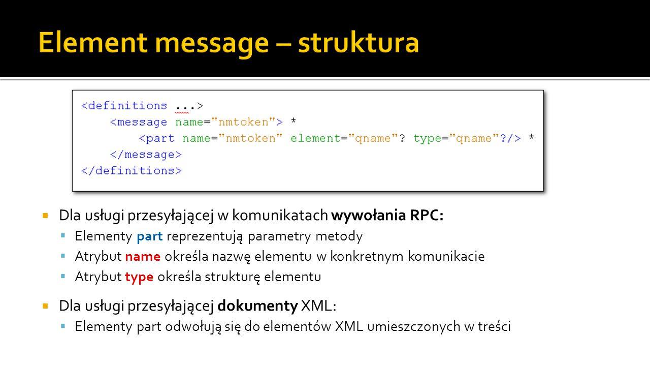  Dla usługi przesyłającej w komunikatach wywołania RPC:  Elementy part reprezentują parametry metody  Atrybut name określa nazwę elementu w konkretnym komunikacie  Atrybut type określa strukturę elementu  Dla usługi przesyłającej dokumenty XML:  Elementy part odwołują się do elementów XML umieszczonych w treści