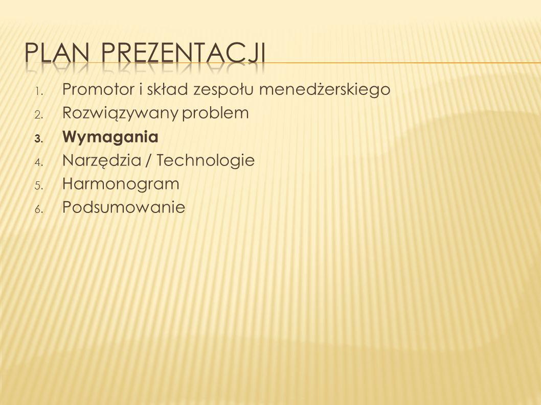 1.Promotor i skład zespołu menedżerskiego 2. Rozwiązywany problem 3.