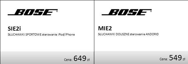 Cena: 649 zł Cena: 549 zł SIE2i SŁUCHAWKI SPORTOWE sterowanie iPod/iPhone MIE2 SŁUCHAWKI DOUSZNE sterowanie ANDORID