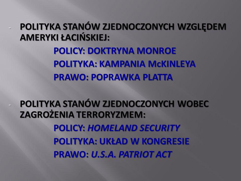 - POLITYKA STANÓW ZJEDNOCZONYCH WZGLĘDEM AMERYKI ŁACIŃSKIEJ: POLICY: DOKTRYNA MONROE POLITYKA: KAMPANIA McKINLEYA PRAWO: POPRAWKA PLATTA - POLITYKA STANÓW ZJEDNOCZONYCH WOBEC ZAGROŻENIA TERRORYZMEM: POLICY: HOMELAND SECURITY POLITYKA: UKŁAD W KONGRESIE PRAWO: U.S.A.