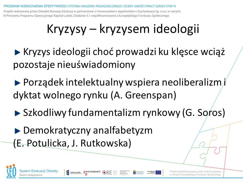 Kryzysy – kryzysem ideologii Kryzys ideologii choć prowadzi ku klęsce wciąż pozostaje nieuświadomiony Porządek intelektualny wspiera neoliberalizm i dyktat wolnego rynku (A.