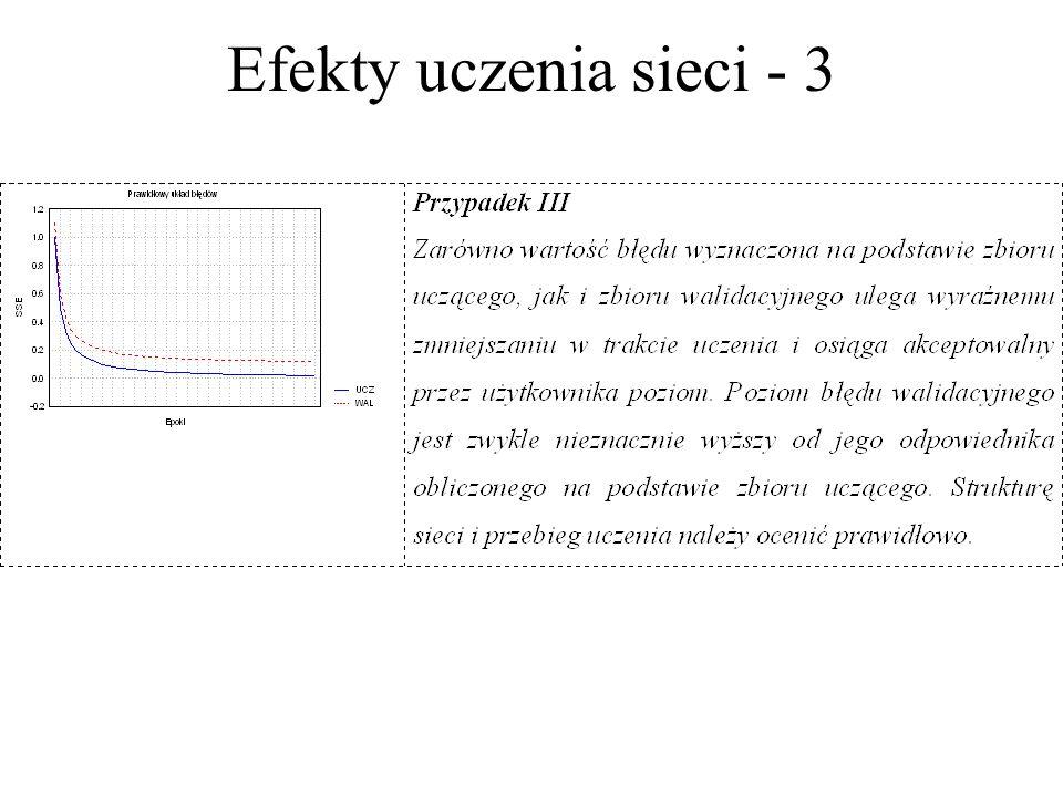 Efekty uczenia sieci - 2