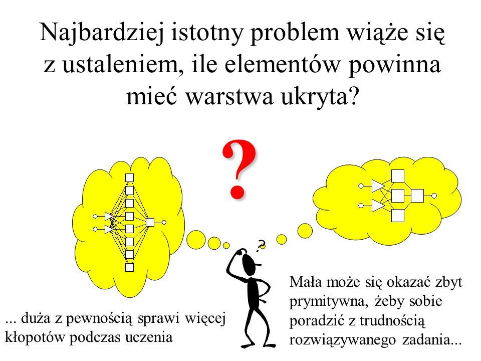 Kwestia wyboru struktury modelu neuronowego Nie istnieje Nie istnieje ogólna recepta, każdy przypadek musi być rozważany indywidualnie!