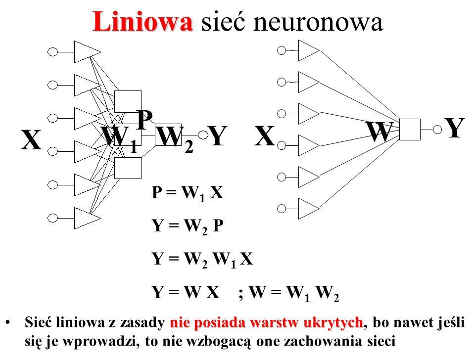 najprostszy użyteczny Sieć liniowa jako najprostszy (ale użyteczny!) model regresyjny Przesłanki przemawiające za stosowaniem liniowej sieci neuronowej: –jest doskonałym narzędziem do opisu zależności liniowych, –stanowi punkt odniesienia przy ocenie modeli nieliniowych, –struktura i uczenie nie stwarza żadnych problemów.