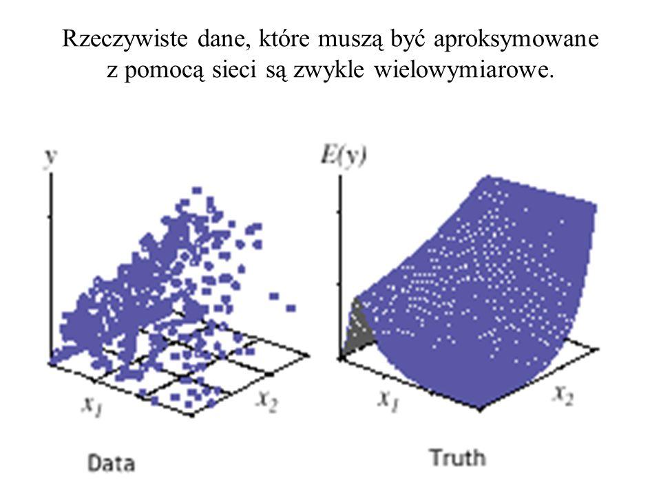 Przykłady budowy modeli neuronowych z użyciem sieci typu perceptron Zwykle rozwiązywane rzeczywiste problemy są znacznie bardziej złożone, głównie ze względu na konieczność uwzględniania wielu wejść i wyjść sieci.