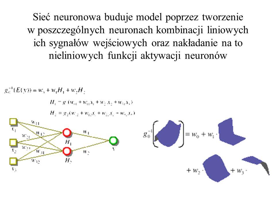 Mało skomplikowane sieci szybko się uczą i wykazują powtarzalne zachowanie, chociaż jest to często zachowanie błędne Wyniki kolejnych prób uczenia za małej sieci