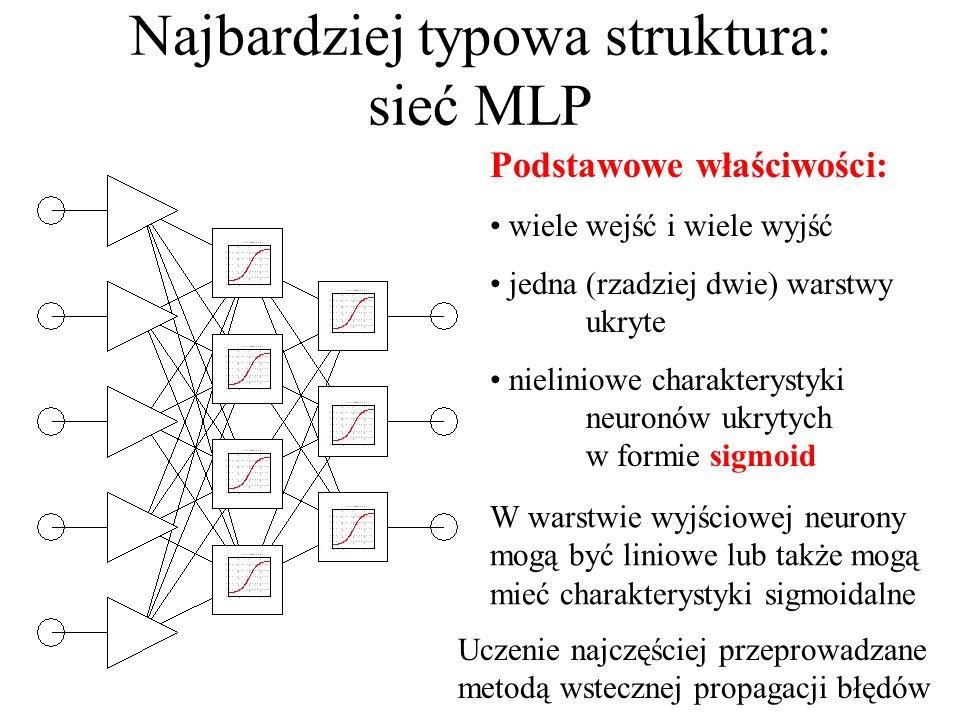 Schemat sztucznej sieci neuronowej (uproszczonej) Działanie sieci zależy od: przyjętego modelu neuronu, topologii (struktury) sieci, wartości parametrów neuronu, ustalanych w wyniku uczenia Warstwa wejściowa Warstwa ukryta (jedna lub dwie) Warstwa wyjściowa