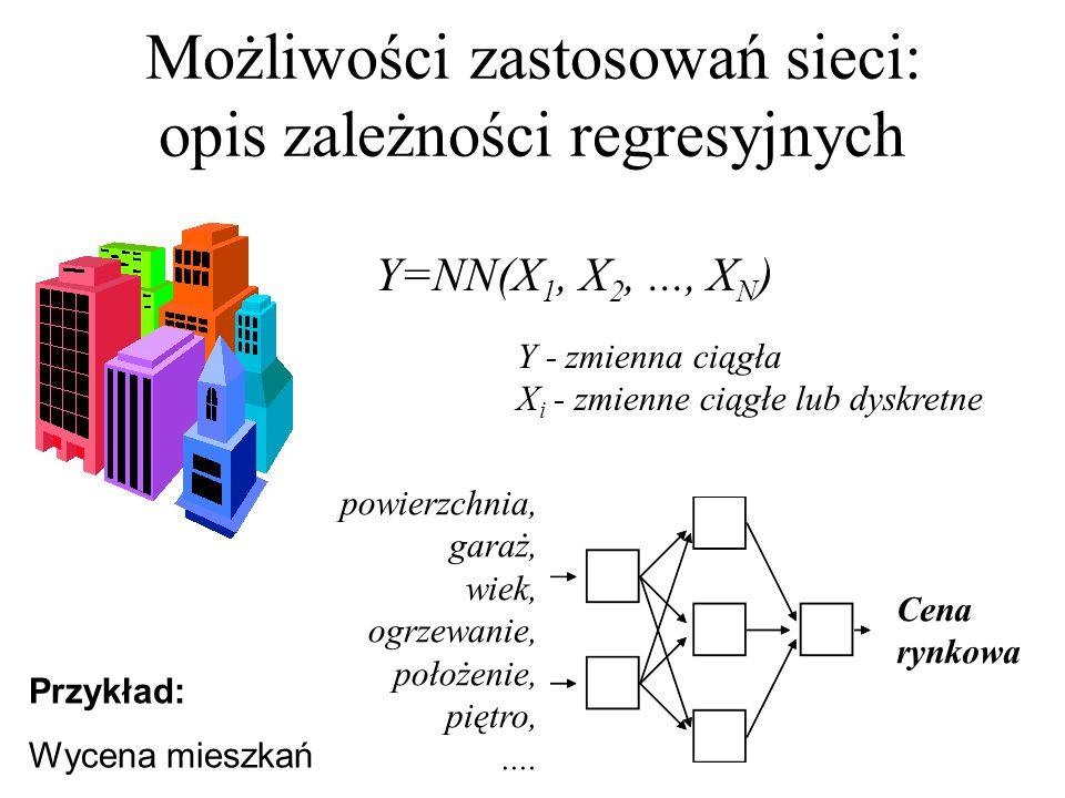 Określenie wag neuronów radialnych metodą K-średnich Elementy zbioru uczącego dzielone są na grupy elementów podobnych (metodą k-średnich).