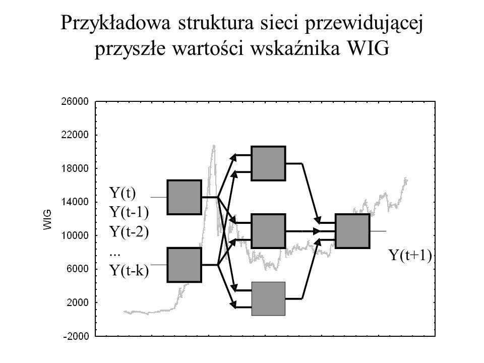 Możliwości zastosowań sieci: prognozowanie szeregów czasowych $/Zł (t+1) $/Zł(t) $/Zł(t-1) DM/Zł(t) WIG(t) WIG(t-1)....