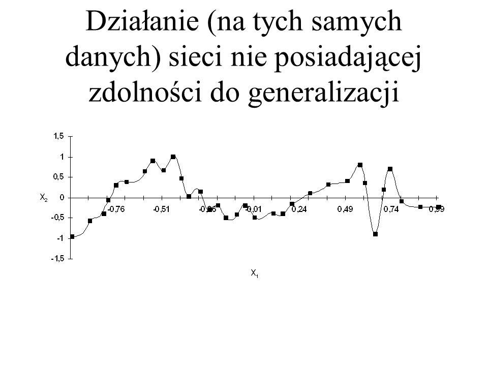 Działanie sieci posiadającej zdolność do aproksymacji i do generalizacji Y