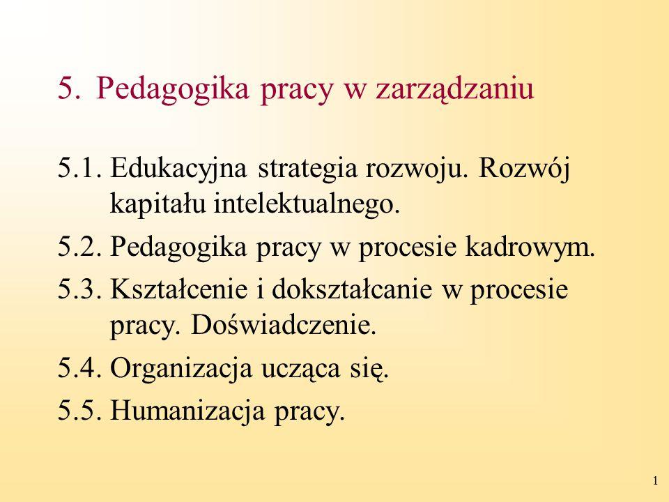 1 5.Pedagogika pracy w zarządzaniu 5.1.Edukacyjna strategia rozwoju. Rozwój kapitału intelektualnego. 5.2.Pedagogika pracy w procesie kadrowym. 5.3.Ks
