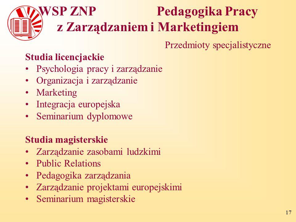 17 WSP ZNPPedagogika Pracy z Zarządzaniem i Marketingiem Przedmioty specjalistyczne Studia licencjackie Psychologia pracy i zarządzanie Organizacja i
