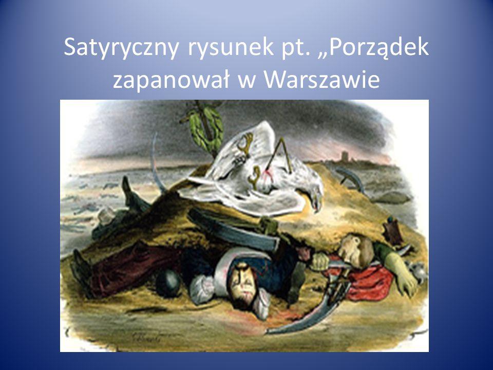 """Satyryczny rysunek pt. """"Porządek zapanował w Warszawie"""
