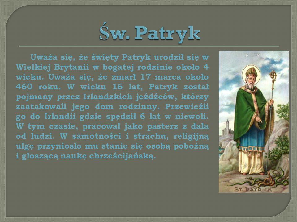 Uważa się, że święty Patryk urodził się w Wielkiej Brytanii w bogatej rodzinie około 4 wieku.