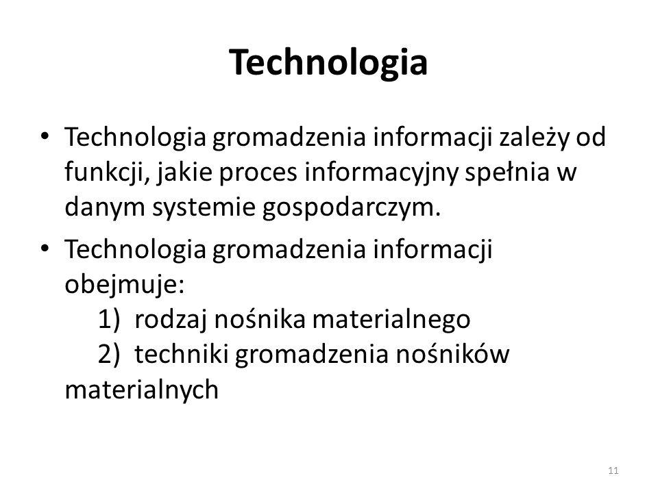11 Technologia Technologia gromadzenia informacji zależy od funkcji, jakie proces informacyjny spełnia w danym systemie gospodarczym. Technologia grom