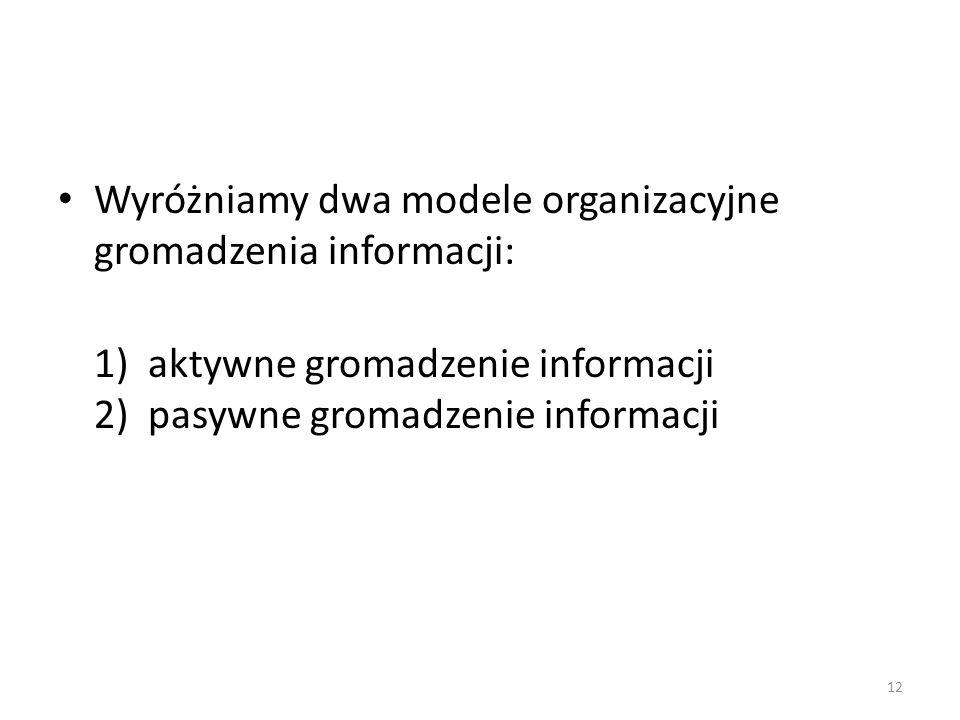 12 Wyróżniamy dwa modele organizacyjne gromadzenia informacji: 1) aktywne gromadzenie informacji 2) pasywne gromadzenie informacji