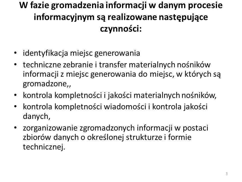 3 W fazie gromadzenia informacji w danym procesie informacyjnym są realizowane następujące czynności: identyfikacja miejsc generowania techniczne zebr