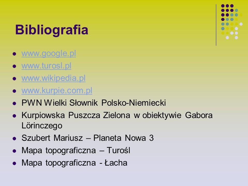 Bibliografia www.google.pl www.turosl.pl www.wikipedia.pl www.kurpie.com.pl PWN Wielki Słownik Polsko-Niemiecki Kurpiowska Puszcza Zielona w obiektywi