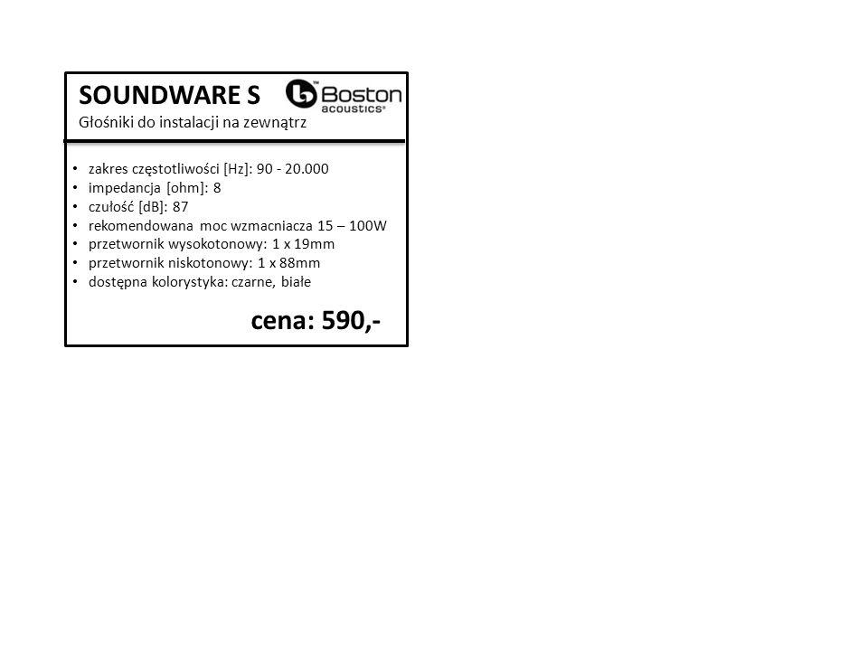 SOUNDWARE S Głośniki do instalacji na zewnątrz zakres częstotliwości [Hz]: 90 - 20.000 impedancja [ohm]: 8 czułość [dB]: 87 rekomendowana moc wzmacniacza 15 – 100W przetwornik wysokotonowy: 1 x 19mm przetwornik niskotonowy: 1 x 88mm dostępna kolorystyka: czarne, białe cena: 590,-