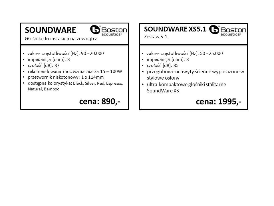 SOUNDWARE Głośniki do instalacji na zewnątrz zakres częstotliwości [Hz]: 90 - 20.000 impedancja [ohm]: 8 czułość [dB]: 87 rekomendowana moc wzmacniacza 15 – 100W przetwornik niskotonowy: 1 x 114mm dostępna kolorystyka: Black, Silver, Red, Espresso, Natural, Bamboo cena: 890,- SOUNDWARE XS5.1 Zestaw 5.1 zakres częstotliwości [Hz]: 50 - 25.000 impedancja [ohm]: 8 czułość [dB]: 85 przegubowe uchwyty ścienne wyposażone w stylowe osłony ultra-kompaktowe głośniki stalitarne SoundWare XS cena: 1995,-