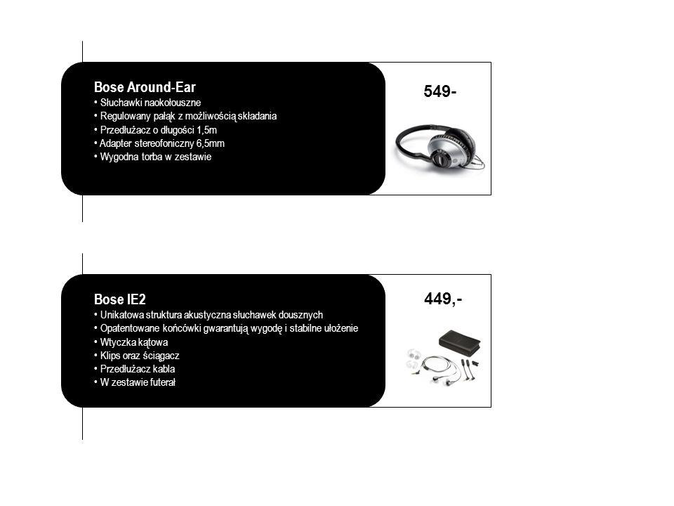 Bose Around-Ear Słuchawki naokołouszne Regulowany pałąk z możliwością składania Przedłużacz o długości 1,5m Adapter stereofoniczny 6,5mm Wygodna torba w zestawie 549- Bose IE2 Unikatowa struktura akustyczna słuchawek dousznych Opatentowane końcówki gwarantują wygodę i stabilne ułożenie Wtyczka kątowa Klips oraz ściągacz Przedłużacz kabla W zestawie futerał 449,-