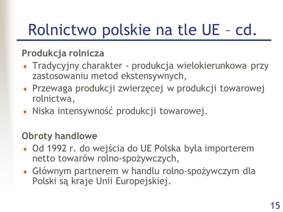 15 Rolnictwo polskie na tle UE – cd. Produkcja rolnicza Tradycyjny charakter - produkcja wielokierunkowa przy zastosowaniu metod ekstensywnych, Przewa