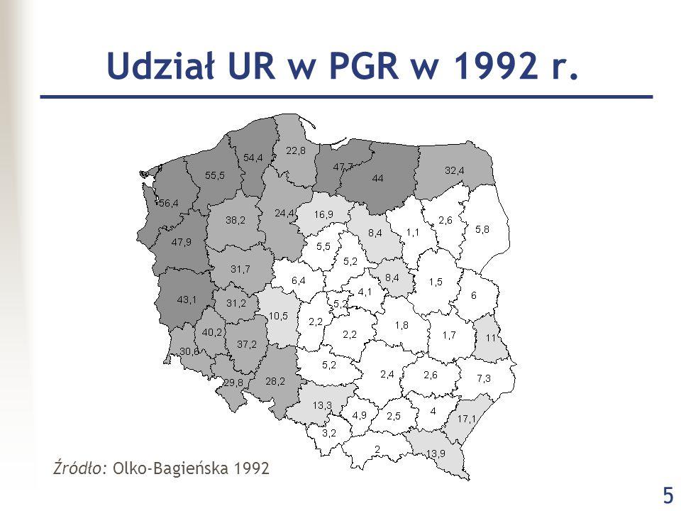 5 Udział UR w PGR w 1992 r. Źródło: Olko-Bagieńska 1992