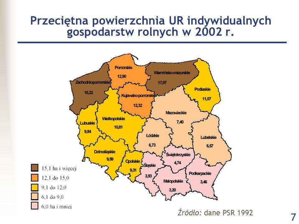 7 Przeciętna powierzchnia UR indywidualnych gospodarstw rolnych w 2002 r. Źródło: dane PSR 1992