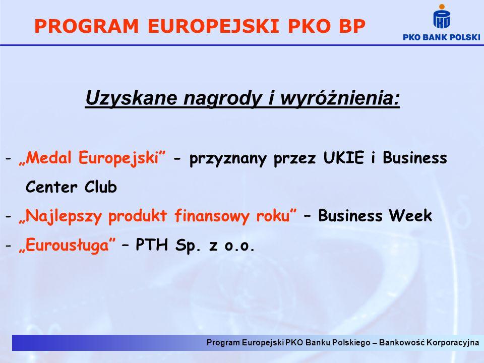 """Program Europejski PKO Banku Polskiego – Bankowość Korporacyjna PROGRAM EUROPEJSKI PKO BP Uzyskane nagrody i wyróżnienia: - """"Medal Europejski"""" - przyz"""
