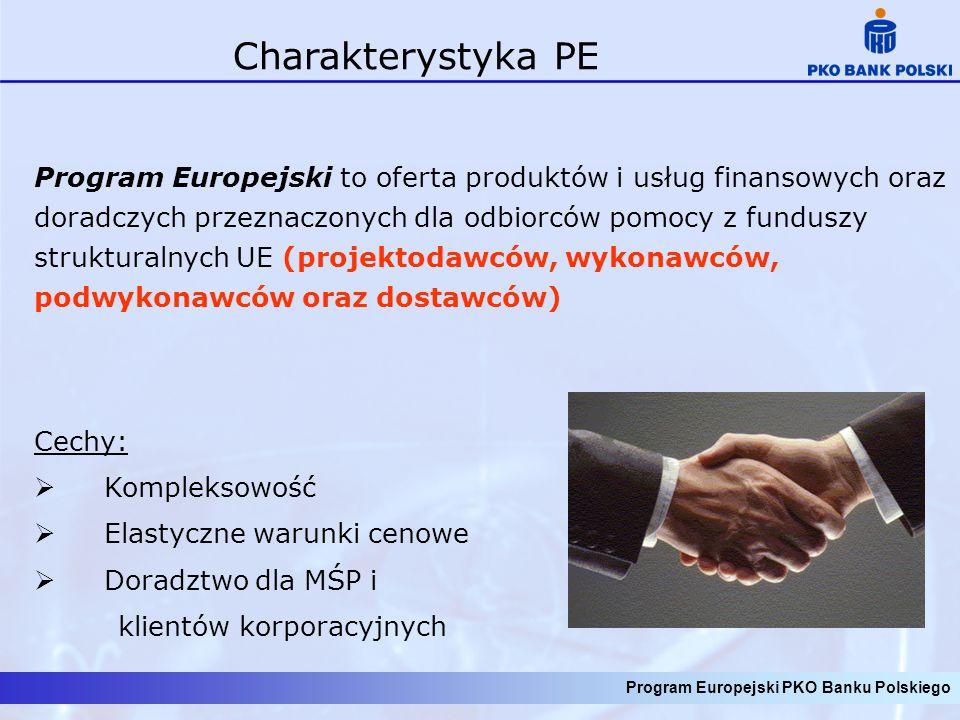 Program Europejski PKO Banku Polskiego Charakterystyka PE Program Europejski to oferta produktów i usług finansowych oraz doradczych przeznaczonych dl