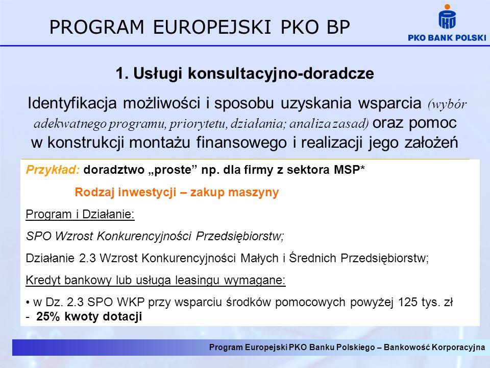 Program Europejski PKO Banku Polskiego – Bankowość Korporacyjna PROGRAM EUROPEJSKI PKO BP 1. Usługi konsultacyjno-doradcze Identyfikacja możliwości i