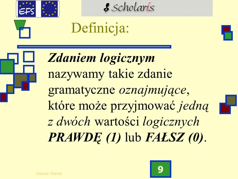 Danuta Stanek 9 Definicja: Zdaniem logicznym nazywamy takie zdanie gramatyczne oznajmujące, które może przyjmować jedną z dwóch wartości logicznych PR