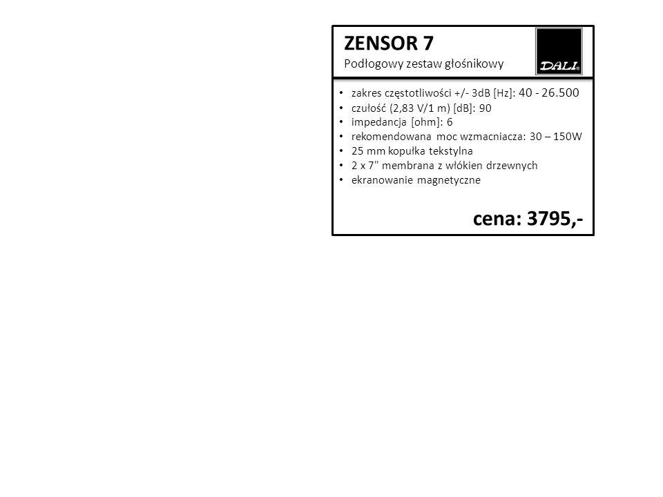 ZENSOR 7 Podłogowy zestaw głośnikowy zakres częstotliwości +/- 3dB [Hz]: 40 - 26.500 czułość (2,83 V/1 m) [dB]: 90 impedancja [ohm]: 6 rekomendowana moc wzmacniacza: 30 – 150W 25 mm kopułka tekstylna 2 x 7 membrana z włókien drzewnych ekranowanie magnetyczne cena: 3795,-