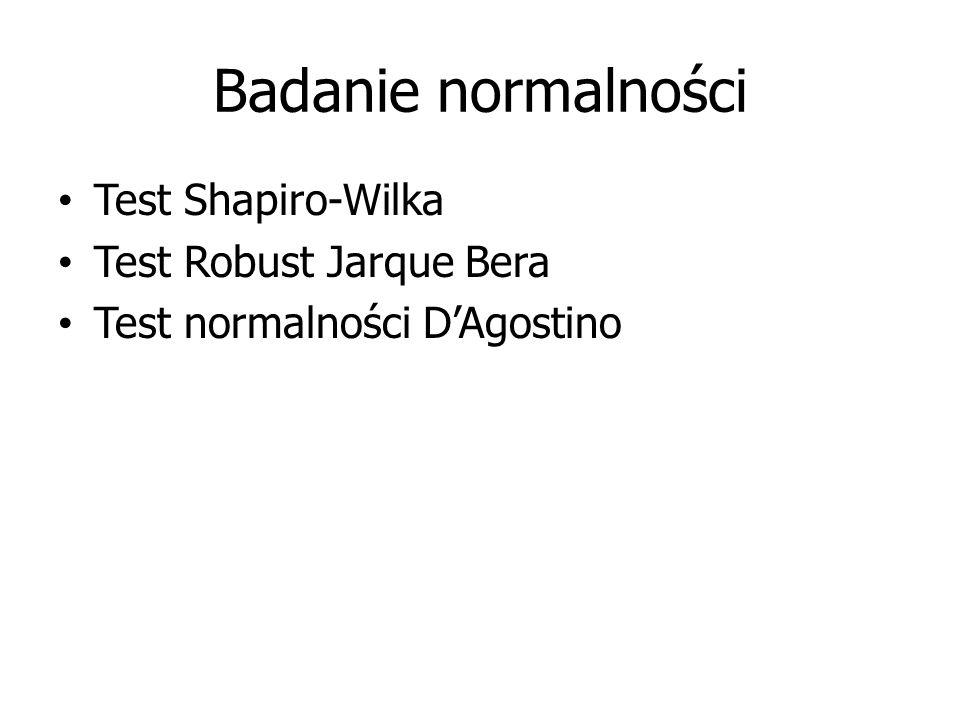 Badanie normalności Test Shapiro-Wilka Test Robust Jarque Bera Test normalności D'Agostino