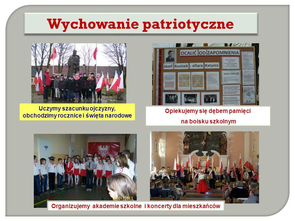 Uczymy szacunku ojczyzny, obchodzimy rocznice i święta narodowe Wychowanie patriotyczne Organizujemy akademie szkolne i koncerty dla mieszkańców Opiek