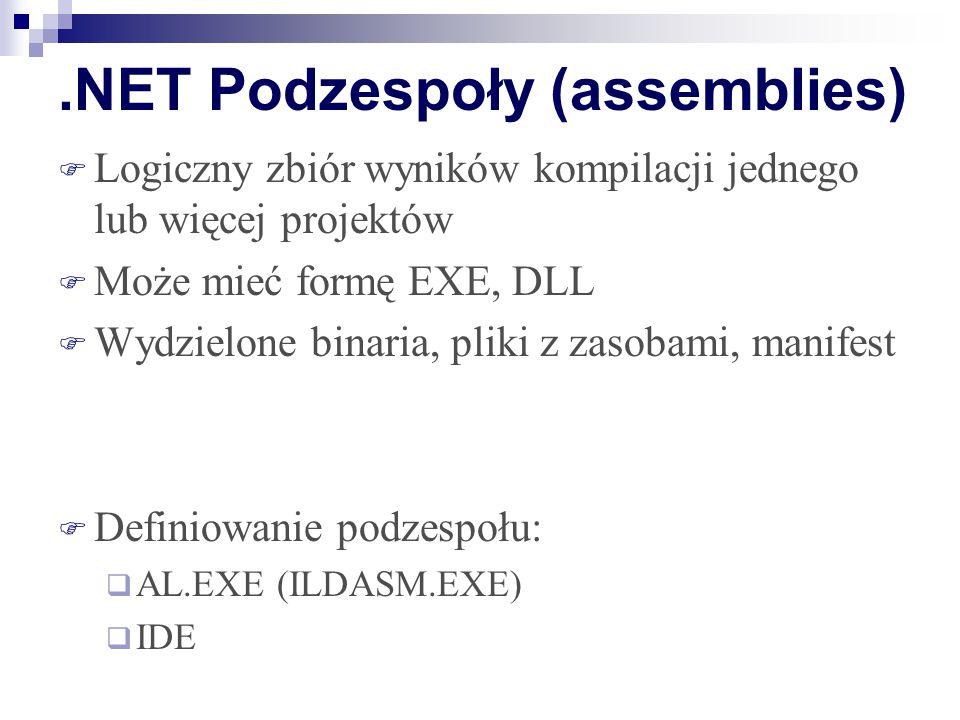 .NET Podzespoły (assemblies)  Logiczny zbiór wyników kompilacji jednego lub więcej projektów  Może mieć formę EXE, DLL  Wydzielone binaria, pliki z zasobami, manifest  Definiowanie podzespołu:  AL.EXE (ILDASM.EXE)  IDE