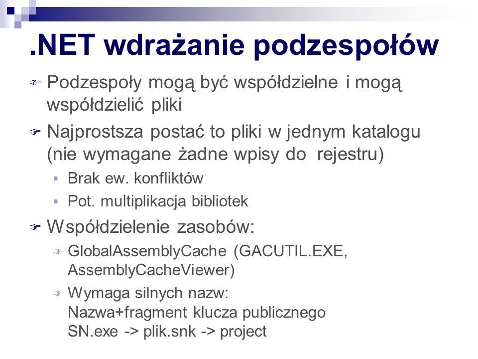 .NET wdrażanie podzespołów  Podzespoły mogą być współdzielne i mogą współdzielić pliki  Najprostsza postać to pliki w jednym katalogu (nie wymagane żadne wpisy do rejestru)  Brak ew.