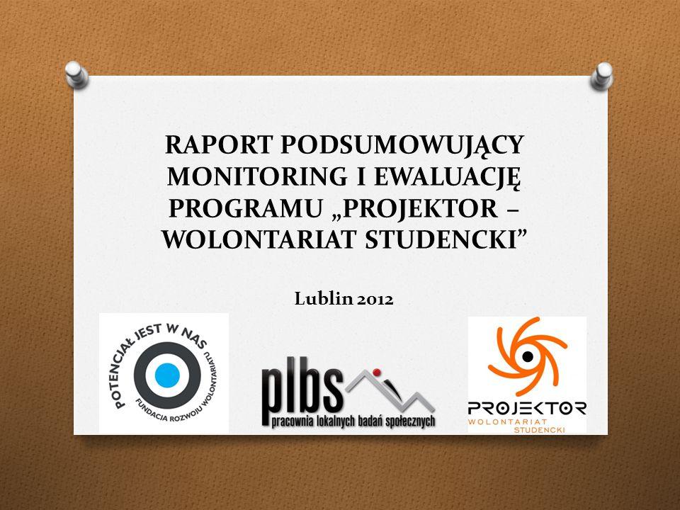 """RAPORT PODSUMOWUJĄCY MONITORING I EWALUACJĘ PROGRAMU """"PROJEKTOR – WOLONTARIAT STUDENCKI Lublin 2012"""