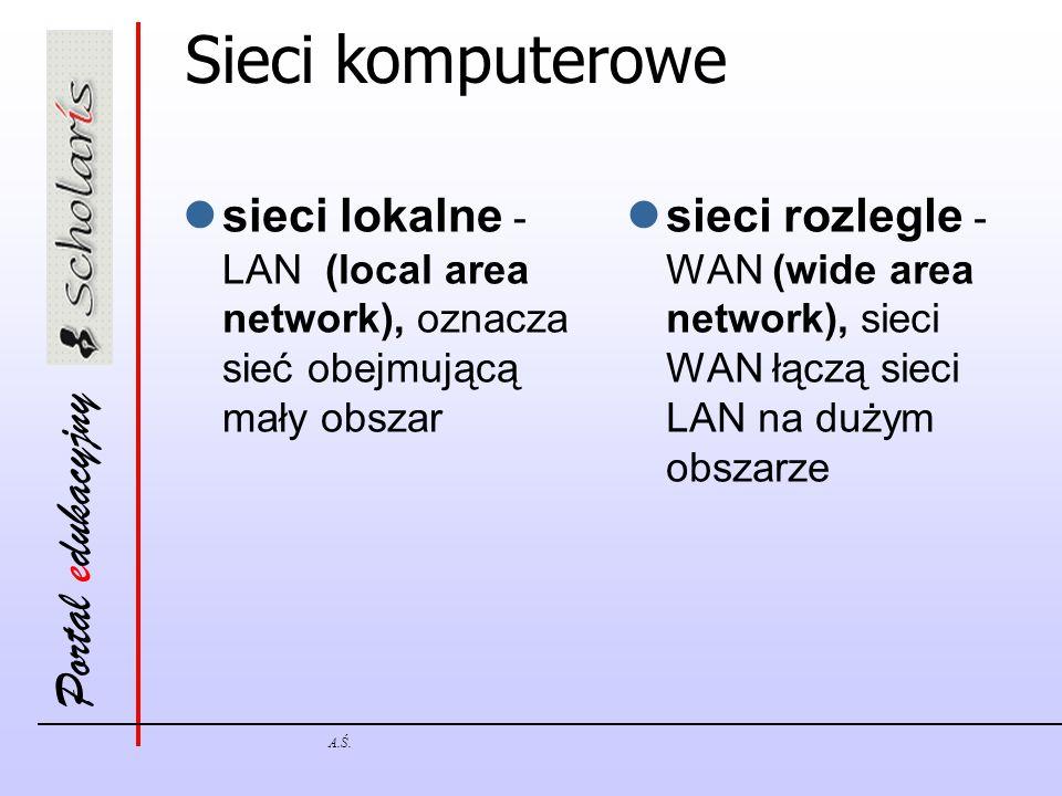 Portal edukacyjny A.Ś. Sieci komputerowe sieci lokalne - LAN (local area network), oznacza sieć obejmującą mały obszar sieci rozlegle - WAN (wide area