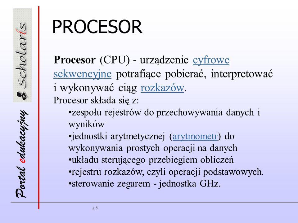 Portal edukacyjny A.Ś. Procesor (CPU) - urządzenie cyfrowe sekwencyjne potrafiące pobierać, interpretować i wykonywać ciąg rozkazów.cyfrowe sekwencyjn
