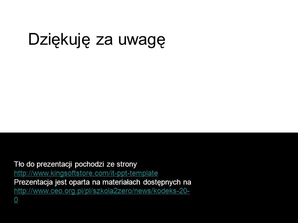 Tło do prezentacji pochodzi ze strony http://www.kingsoftstore.com/it-ppt-template http://www.kingsoftstore.com/it-ppt-template Prezentacja jest oparta na materiałach dostępnych na http://www.ceo.org.pl/pl/szkola2zero/news/kodeks-20- 0 http://www.ceo.org.pl/pl/szkola2zero/news/kodeks-20- 0 Dziękuję za uwagę