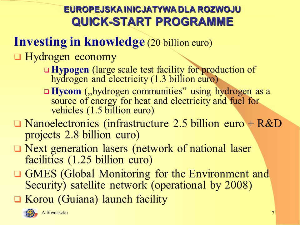 "A.Siemaszko 7 EUROPEJSKA INICJATYWA DLA ROZWOJU QUICK-START PROGRAMME Investing in knowledge (20 billion euro)  Hydrogen economy  Hypogen (large scale test facility for production of hydrogen and electricity (1.3 billion euro)  Hycom (""hydrogen communities using hydrogen as a source of energy for heat and electricity and fuel for vehicles (1.5 billion euro)  Nanoelectronics (infrastructure 2.5 billion euro + R&D projects 2.8 billion euro)  Next generation lasers (network of national laser facilities (1.25 billion euro)  GMES (Global Monitoring for the Environment and Security) satellite network (operational by 2008)  Korou (Guiana) launch facility"