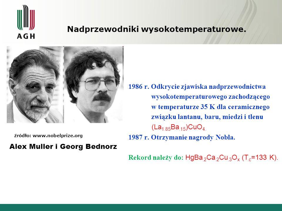 źródło: www.nobelprize.org Alex Muller i Georg Bednorz 1986 r. Odkrycie zjawiska nadprzewodnictwa wysokotemperaturowego zachodzącego w temperaturze 35